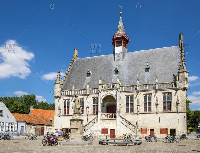 Damme , Flanders, Belgium - August 15, 2016: Stadhuis Damme town hall, Bruges, West Flanders, Belgium