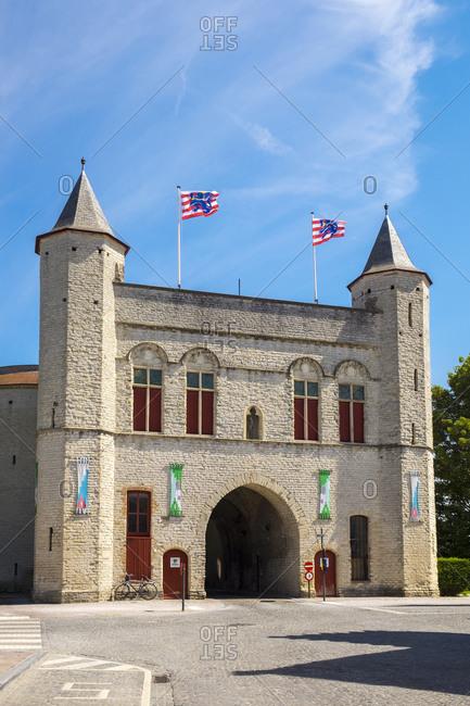 Bruges, Flanders, Belgium - August 16, 2016: Kruispoort gate, former 14th century city gate, Bruges, West Flanders, Belgium