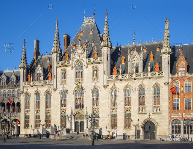 Bruges, Flanders, Belgium - August 16, 2016: Provinciaal Hof (Province Court) of Markt square, Bruges, West Flanders, Belgium