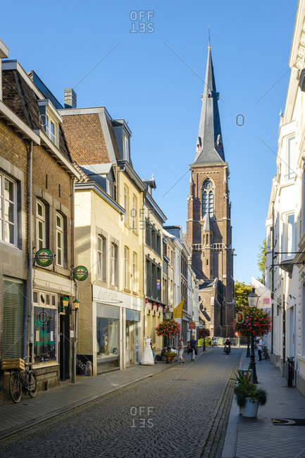 Maastricht, Limburg, Netherlands - September 9, 2016: Shopping streets in Wyck quarter, Maastricht, Limburg, Netherlands