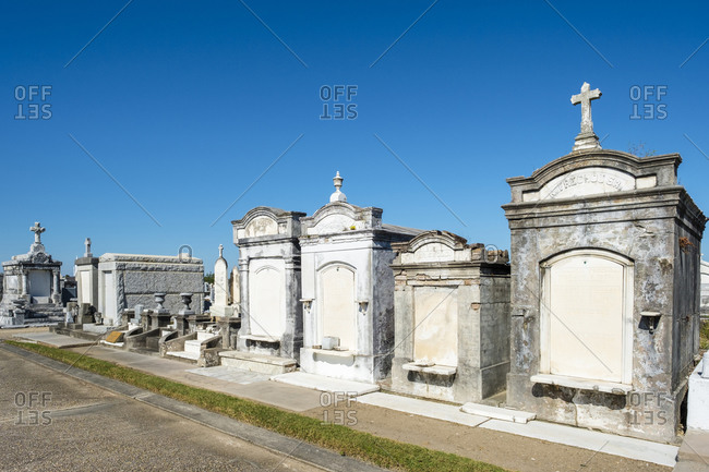 New Orleans, Louisiana, United States - September 30, 2016: Historic above-ground graves in Greenwood Cemetery, New Orleans, Louisiana, United States