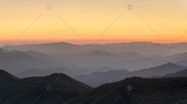 Blue Ridge Mountains from the Blue Ridge Parkway at sunset, North Carolina, United States