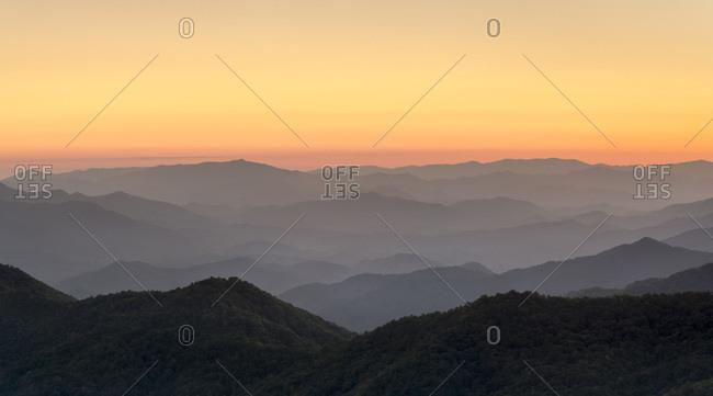 Blue Ridge Mountains from the Blue Ridge Parkway at sunset, North Carolina, United States