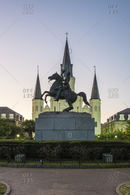 New Orleans, Louisiana, United States - October 12, 2016: Saint Louis Cathedral on Jackson Square in the French Quarter at dusk, New Orleans, Louisiana, United States
