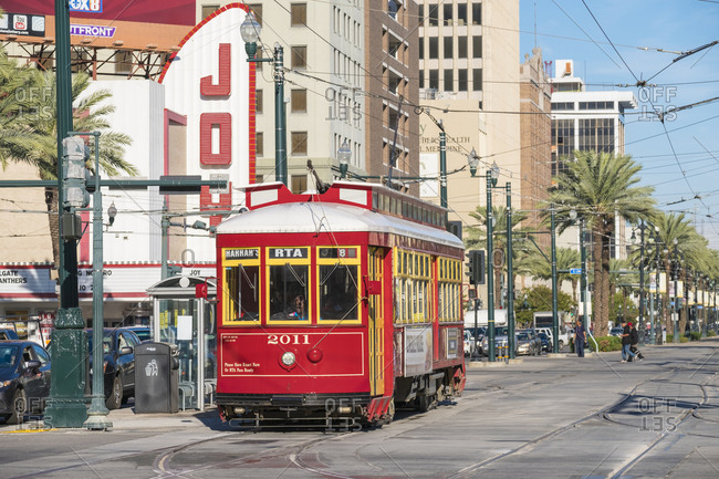 New Orleans, Louisiana, United States - October 13, 2016: Canal Street streetcar line in the French Quarter, New Orleans, Louisiana, United States