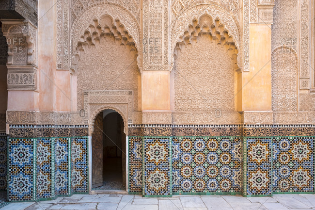 Ben Youssef Madrasa, 16th century Islamic college, Marrakesh, Morocco