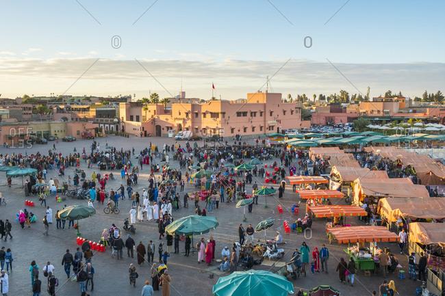 Marrakesh, Marrakesh-Safi, Morocco - December 14, 2016: Food stalls on Jamaa El-Fna square, Marrakesh, Morocco