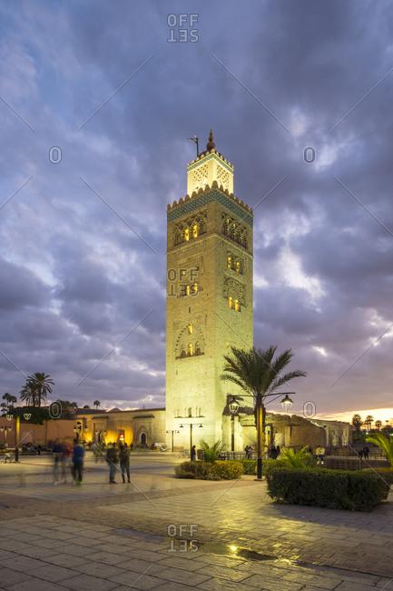 Marrakesh, Marrakesh-Safi, Morocco - December 15, 2016: 12th century Koutoubia Mosque at dusk, Marrakesh, Morocco