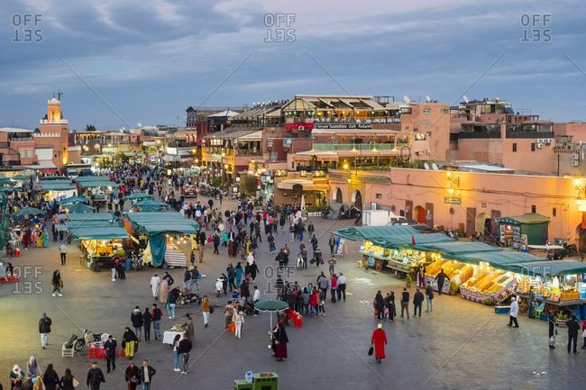 Marrakesh, Marrakesh-Safi, Morocco - December 14, 2016: Jamaa El-Fna square at dusk, Marrakesh, Morocco