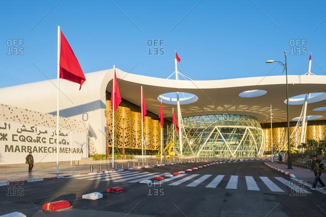 Marrakesh, Marrakesh-Safi, Morocco - December 18, 2016: Terminal building at Marrakesh Menara Airport, Marrakesh, Morocco