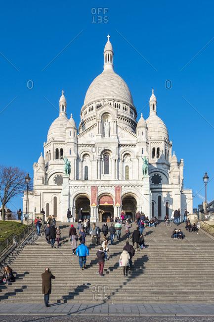 Paris, �le-de-France, France - January 19, 2017: Basilica of Sacre Coeur, Montmartre, Paris, Île-de-France, France
