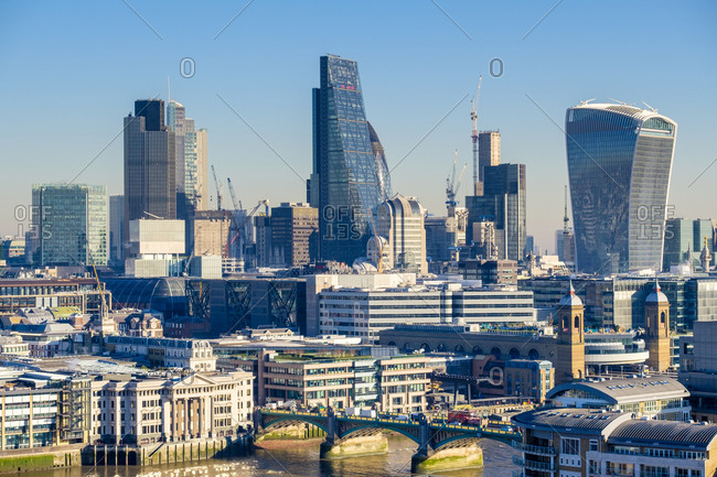 London, England, United Kingdom - January 20, 2017: London Skyline, modern buildings in Central London, England, United Kingdom