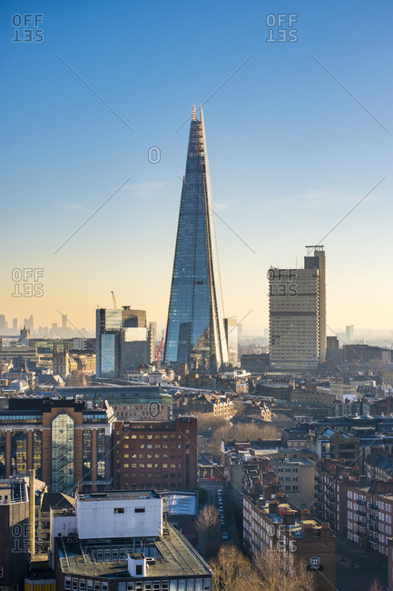 London, England, United Kingdom - January 20, 2017: The Shard skyscraper in the London Borough of Southwark, designed by architect Renzo Piano. London, England, United Kingdom