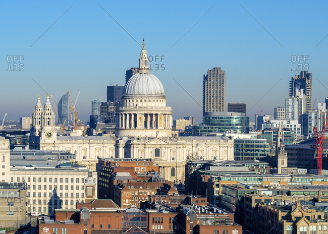 London, England, United Kingdom - January 20, 2017: St Paul's Cathedral and buildings in central London, England, United Kingdom