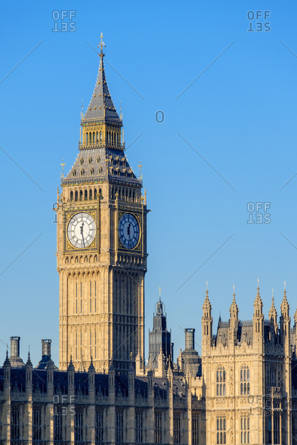 London, England, United Kingdom - January 20, 2017: The clock tower of Big Ben (Elizabeth Tower) above Palace of Westminster, the houses of Parliament of the United Kingdom, London, England, United Kingdom