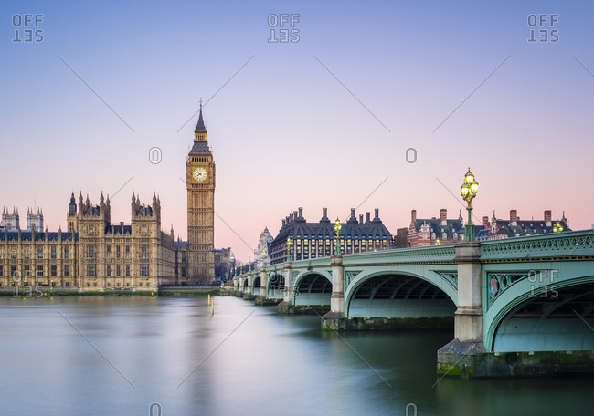 London, England, United Kingdom - January 21, 2017: Westminster Bridge, Palace of Westminster and the clock tower of Big Ben (Elizabeth Tower), at dawn, London, England, United Kingdom