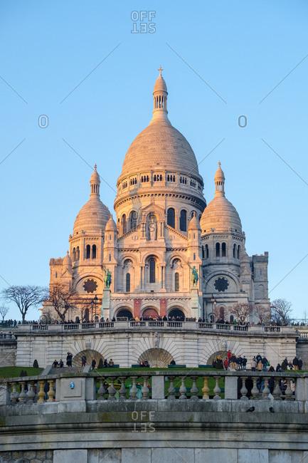 Paris, �le-de-France, France - January 21, 2017: Basilica of Sacre Coeur at sunset, Montmartre, Paris, Île-de-France, France