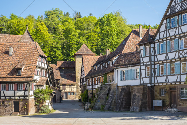 Maulbronn, Baden-W�rttemberg, Germany - May 10, 2017: Historic half-timber buildings in the monastery village, Maulbronn, Germany