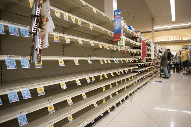 San Diego, California, United States - March 13, 2020: Empty shelves of a supermarket due to the Coronavirus.