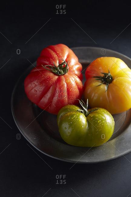 Heirloom Tomatoes on Pewter Plate