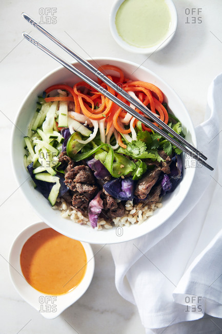 Beef and Rice Poke Bowl