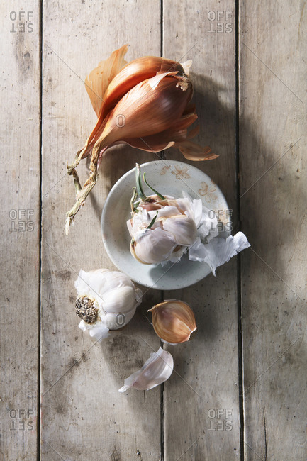 Garlic Onions Still Life on Wood Table