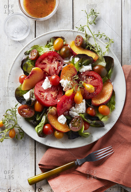 Summer Fruit Salad with Dressing and Greens