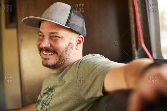 A portrait of a happy man.