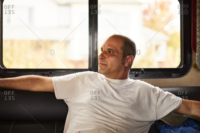 Portrait of a middle aged man in an rv.