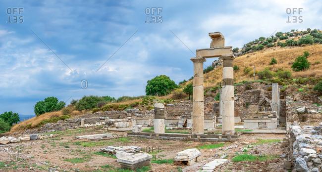 Prytaneion ruins in the ancient Ephesus, Turkey
