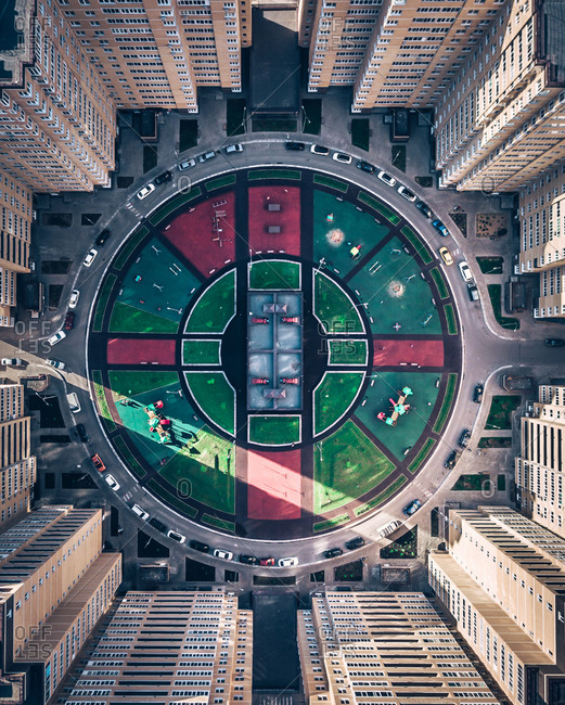 Aerial view of urban geometry of the courtyard in Moscow from above, Moscow, Russia.