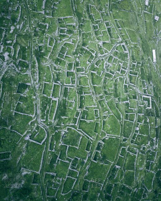Aerial view of the walls and streets of the ancient Kunlum in Verkhnyaya Balkaria, Kabardino-Balkaria, Russia.