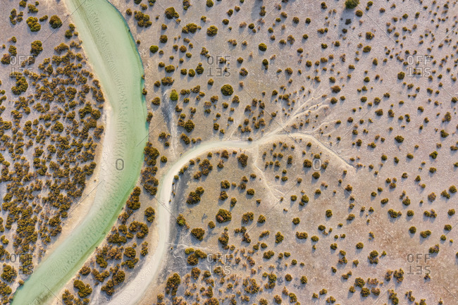 Aerial view above of stream crossing Abu Al Sayayif natural reserve, Abu Dhabi, United Arab Emirates