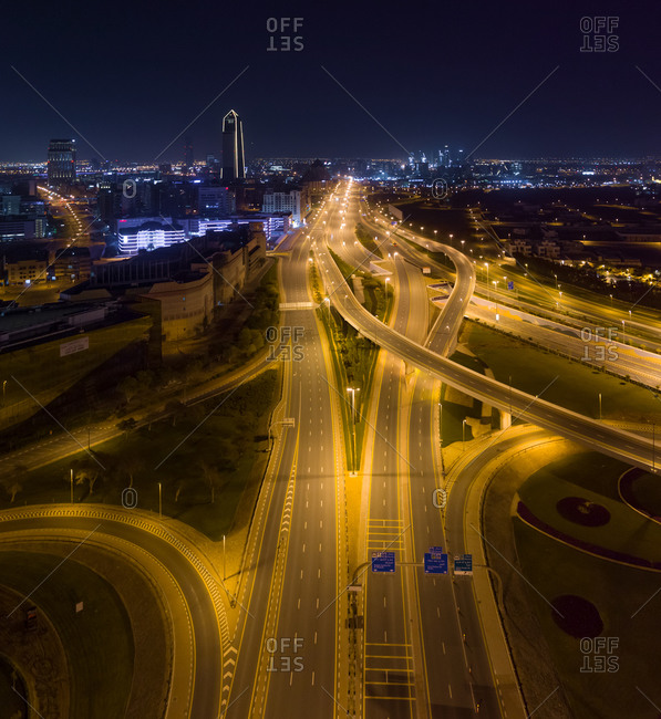 March 31, 2020: Aerial view of empty streets at night due to the coronavirus pandemic in Dubai, United Arab Emirates