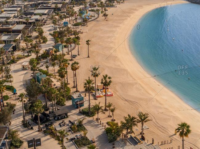 April 9, 2020: Aerial view of empty beach due to coronavirus pandemic in Dubai, United Arab Emirates