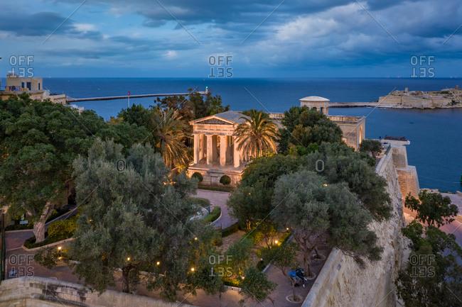 Aerial view of the Lower Barrakka Garden in Valetta, Malta