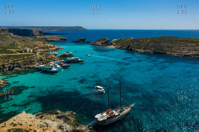 April 14, 2020: Aerial view of the Blue Lagoon Comino, Malta.