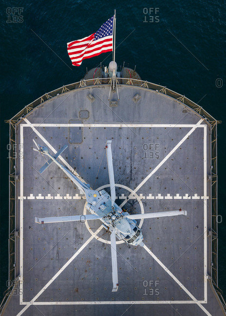 Aerial view of  a US Navy ship in the Grand Harbor Valletta