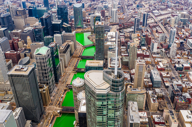 Aerial view of Chicago river dye celebrating St. Patrick's day, United States.
