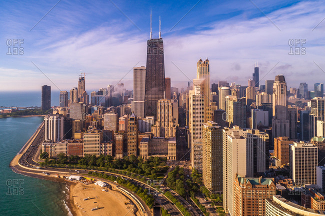April 14, 2020: Aerial view of Chicago skyscraper during scenic the sunset, United States.