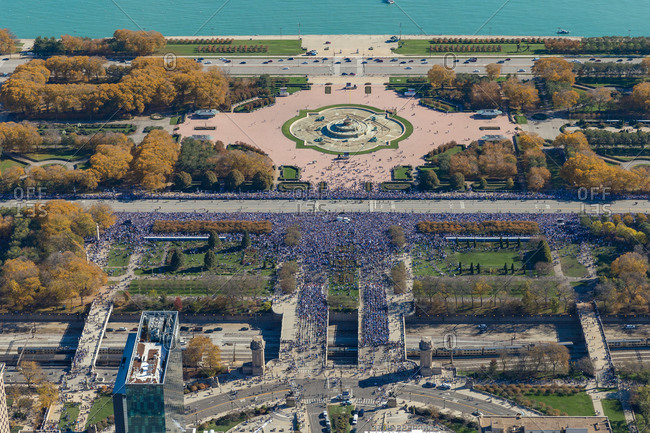 Aerial view of Chicago Pride parade at Grant Park during the day, United States.