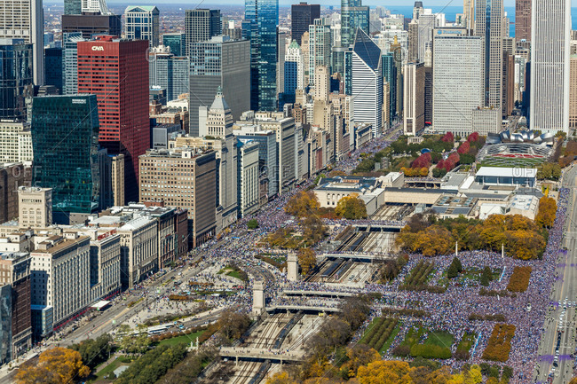 April 14, 2020: Aerial view of Chicago Pride parade at Grant Park during the day, United States.