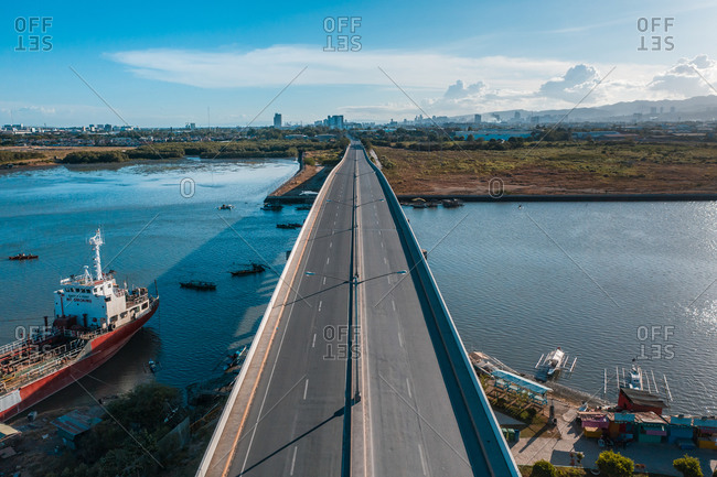 An aerial view of an empty Cansaga Bay Bridge on April 10, 2020 in Cebu, Philippines.
