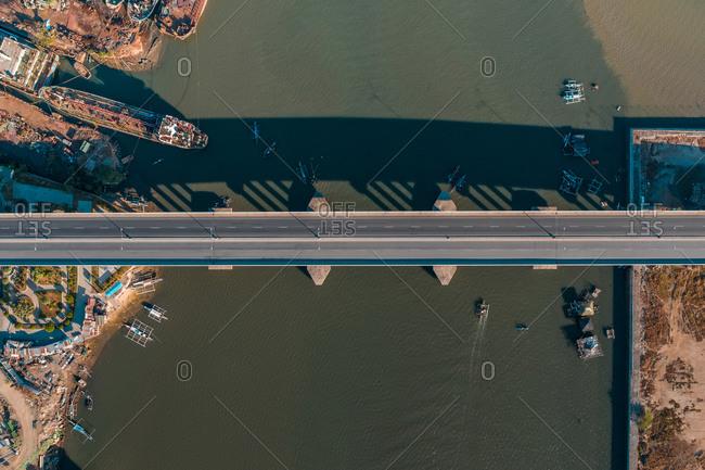 An aerial view of an empty Cansaga Bay Bridge in Cebu, Philippines.