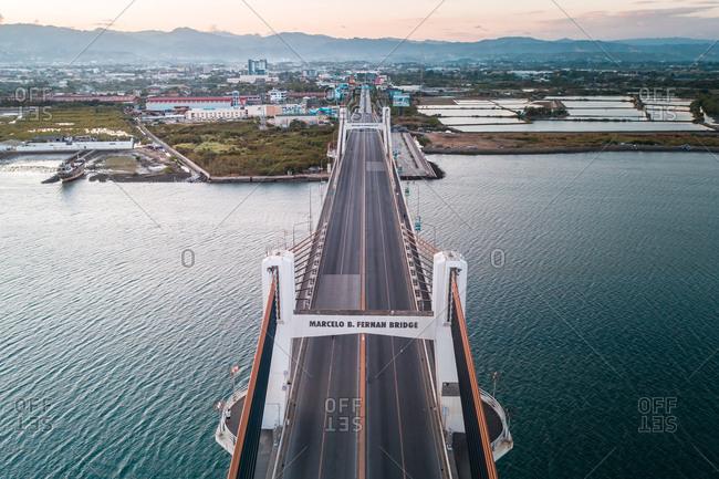 April 10, 2020: An aerial view of a nearly empty Marcelo B. Fernan Bridge in Cebu, Philippines.