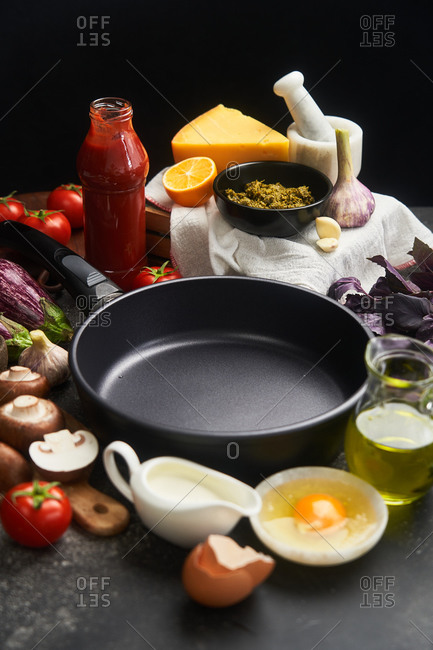 Empty skillet surrounded by fresh ingredients