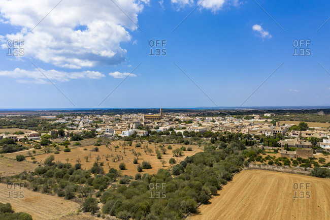 Aerial view of village Ses Salines- Mallorca- Spain