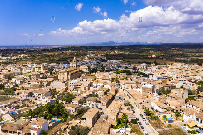 Aerial view of village Ses Salines with Esglesia Ses Salines- Mallorca- Spain