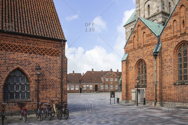 April 10, 2017: Denmark- Ribe- Empty market square in front of Ribe Cathedral