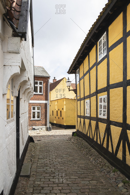 Denmark- Ribe- Cobblestone alley between town houses